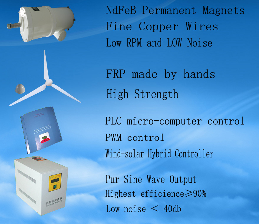 china wind turbine manufacturer low rpm 5kw 220v permanent magnet generator