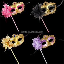 Multi-colors Mardi Gras Mask Venetian princess masquerade mask with stick 6colors available