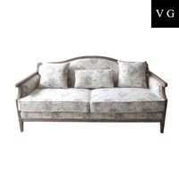 Antique French style accent sofa high end wing broad back sleeping sofa wooden fabric sofas furniture