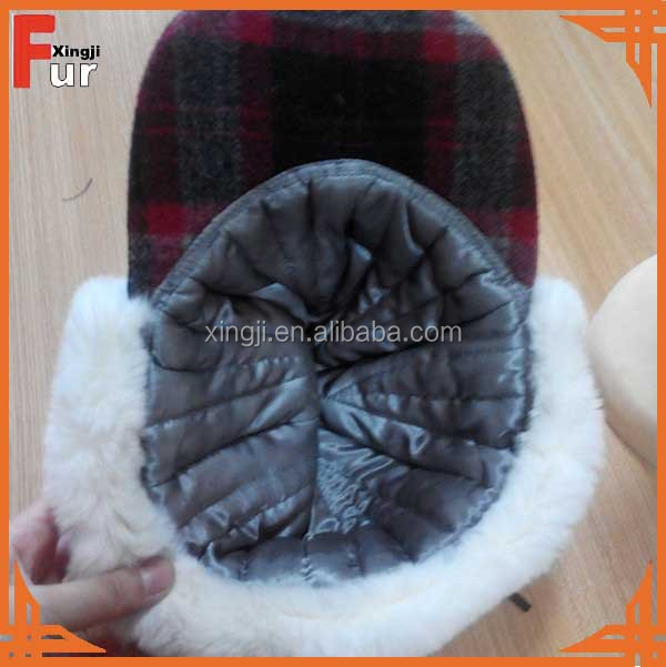 Top quality fashion rabbit fur hat with visor