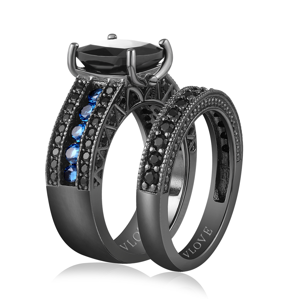 VLOVE wish shopping online 925 blue glass silver ring price per gram