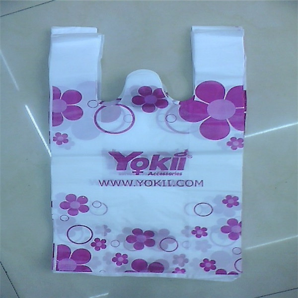Shopping usage HDPE vest carrier plastic bags, customized logo available