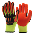 NMSAFETY 7gauge acrylic nappy coated latex TPR impact resistant construction work glove