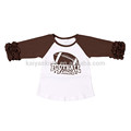 children's boutique baseball print 100% cotton comfortable icing raglan shirt with ruffle sleeve