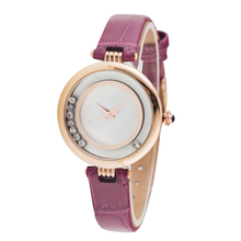 New promotional ladies watches for sale with shell dial colorful leather band