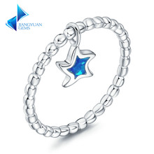 925 Sterling Silver Star Blue Opal Stone Unique Rings for Women Fine Jewelry