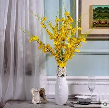 High Quality New Design Orchid Decoration Artificial Silk Flowers with White Vase in Bedroom