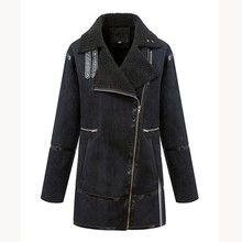 2015 wholesale turn down collar ladies long leather coats