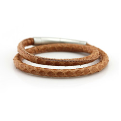New Design Snakeskin Leather Women Wrap Bracelets/Double Layer Two Clasps Genuin Snakeskin Stitched Leather Bracelet for Women