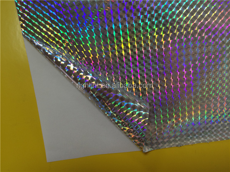 silver holographic adhesive film with magic cubic pattern