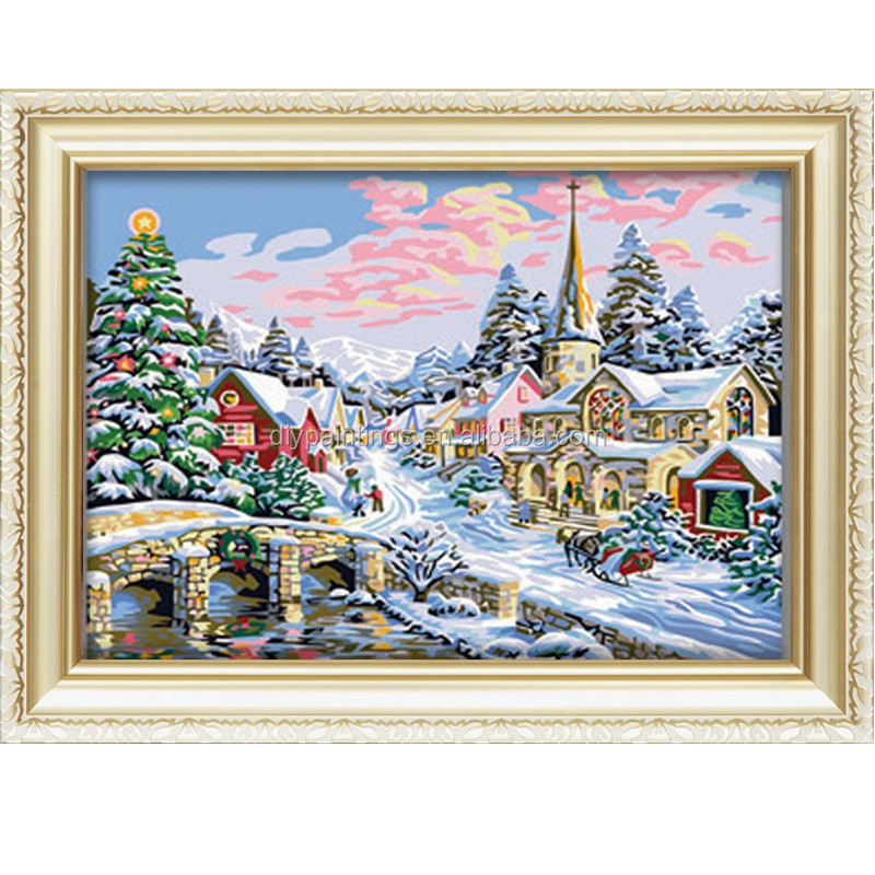 Diy oil painting by numbers snow scene handmade <strong>picture</strong>