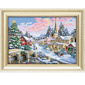 Diy oil painting by numbers snow scene handmade picture