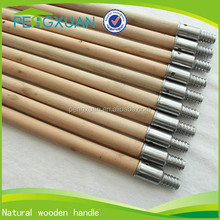 straight floor cleaning metal threaded wood stick for brush