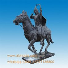 Life Size Chinese Bronze Warrior Statues Bronze Man With Horse Statue