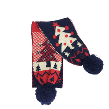 Western Festival Snowflake Knitted PomPom Kids Christmas Scarf