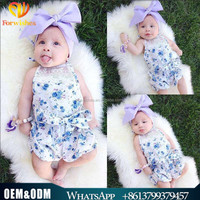 2017 toddler clothes sweet infant bowknot floral jumpsuits gallus girl printed lace newborn baby overalls romper