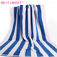 wholesale white and blue stripe 100% cotton beach towels for hotel
