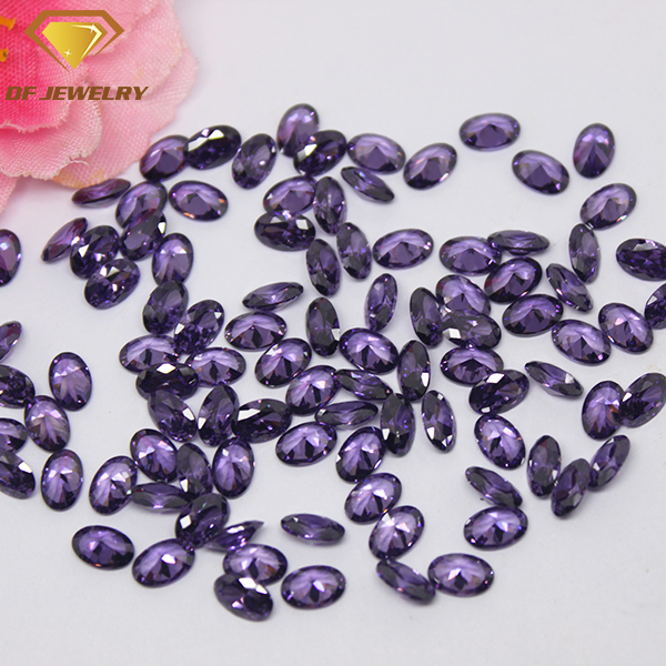 Machine Cut Amethyst CZ Oval Shape Cubic Zirconia Gemstone