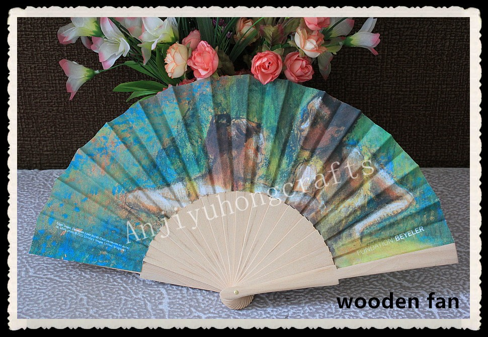 Promotional Spanish folding wood fan