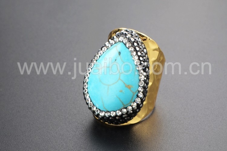 gypsy natural turquoise stone ring cz pave fashion gold ring cuff wholesale