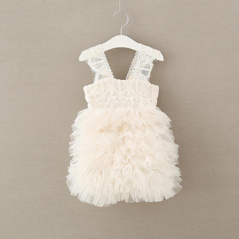 Wholesale beautiful new fashion ruffle white color rkids girls prom dress