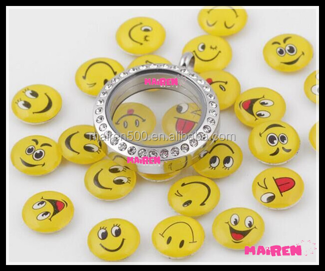 assorted smiling face emoji floating charms