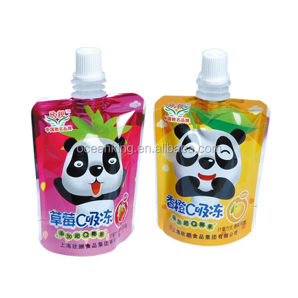 laminated plastic material stand up spout jelly package pouch