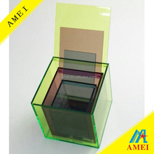 Wholesale Fluorescent colored acrylic cube storage box with Lid