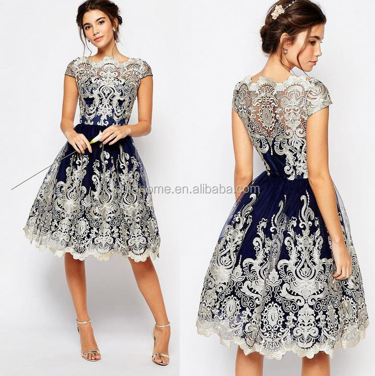 Yiwu 2017 western style women a-line vintage dress short sleeve lace prom dresses