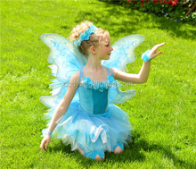 2014 the most popular fancy children girl butterfly costume with butterfly wings one piece girl-party-wear-western-dress design