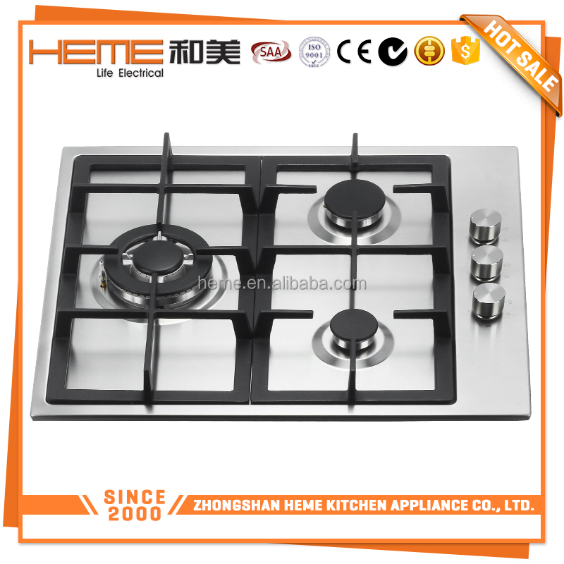 Promotional price stainless steel surface 60cm cast iron 3 burners gas cooker