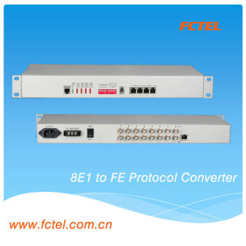 8E1 to 4*10/100 Base-T Protocol converter ,LAN /PVN Protocol converter for data communication
