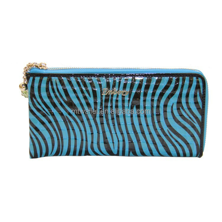High quality OEM and ODM zebra printing zipper around femal wallet purse