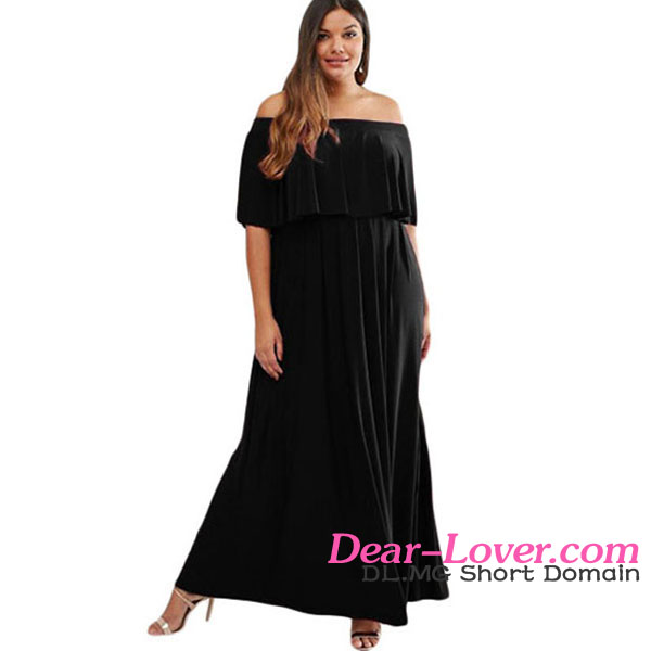 Black Plus Size Ruffle Off Shoulder sweet ladies dress online shopping