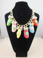 European and American big retro colorful jewelry necklace female short paragraph exaggerated fashion accessories
