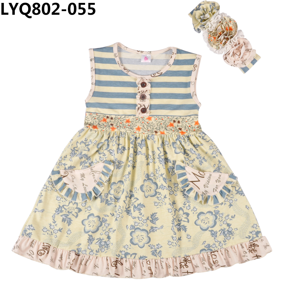 2018 Fashion cotton knitted girls clothing sets boutique kids apparel ruffle baby clothes