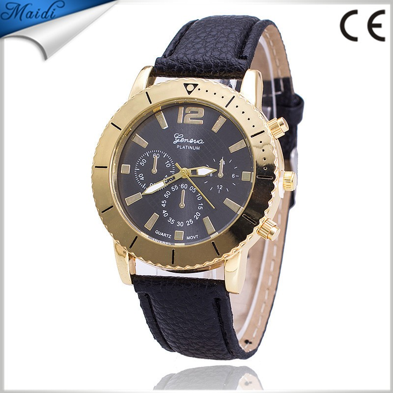 Ladies Fashion Candy Leather Geneva Watches Women Fashion Three Eyes Analog Dress Watches GW071
