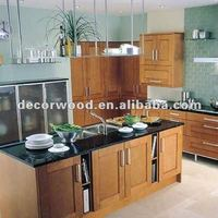 ready to assembly kitchen cabinet with tan brown granite counter top