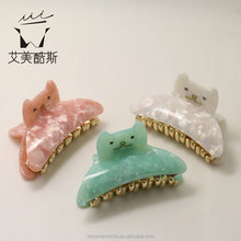 sweet cat shaped acetate hair claws for unique girls manufacturer price!