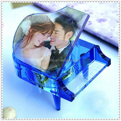 Crystal Piano Wedding Music Box Gifts For Custom Picture Printed