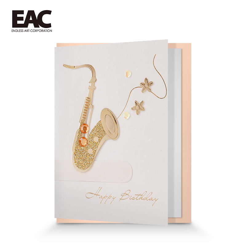 Alibaba french china glitter saxphone style sample birthday greetings for company birthday card images