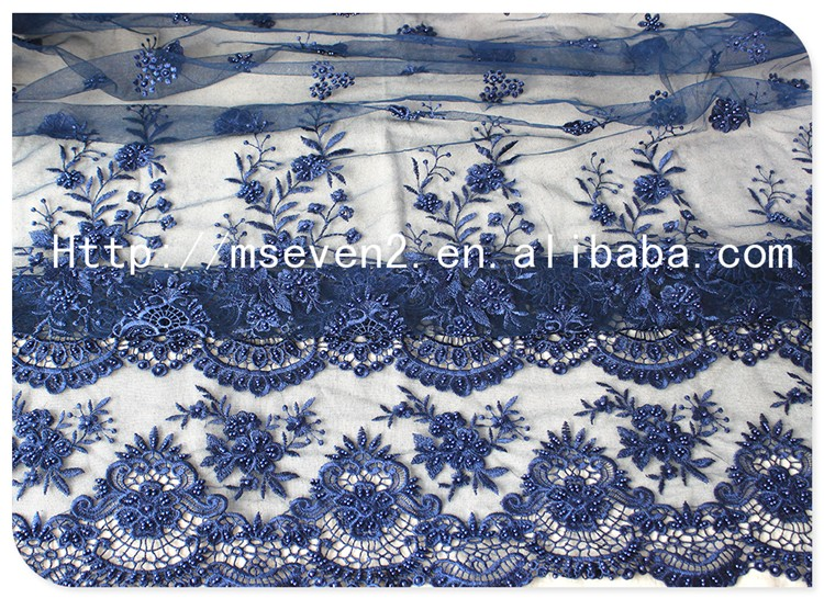 Fashional Design Elegant Embroidered Beaded Navy Blue Lace Fabric for Dress