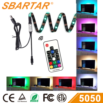 4pcs pack USB TV backlight RGB LED Strip 5050 color changing with RF controller