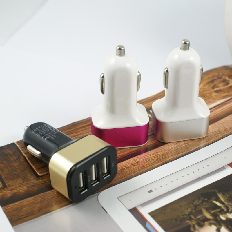 Universal 3 port usb car charger,phone charger mobile for car supplier