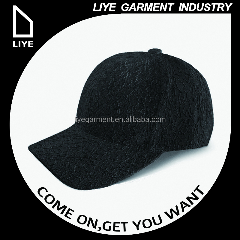 CHINA professional long brim unique figure lace 6 penel baseball cap hat without logo