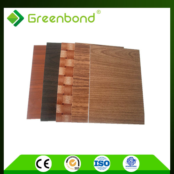 Greenbond plastic textured wall panels wood finish acp sheet