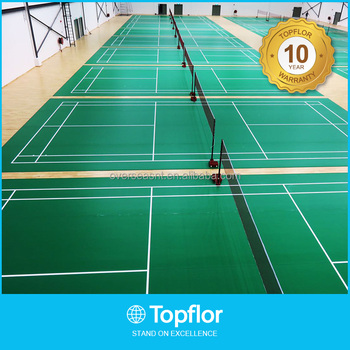 Multi purpose pvc rubber flooring for badminton indoor for Indoor badminton court height