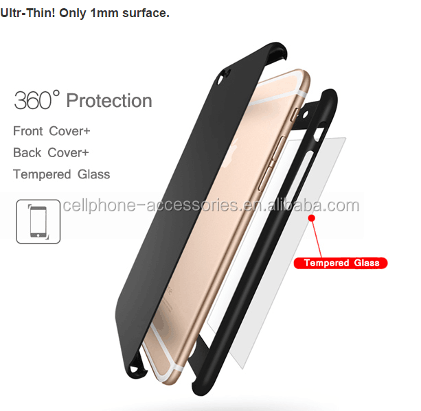 Full Body Hard Slim Premium Cover with Tempered Glass Screen Protector for iphone 6 case 360
