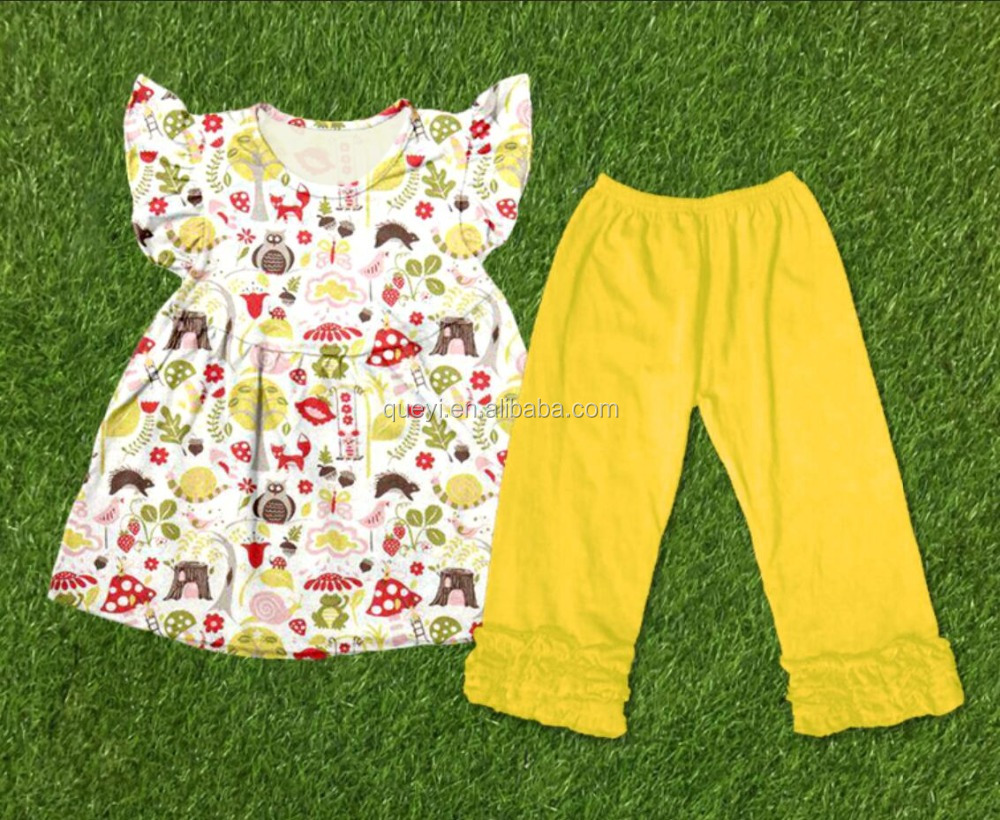 baby girl boutique clothing sets Mushrooms leaf lips lollipop ice cream pattern Lace capris pants