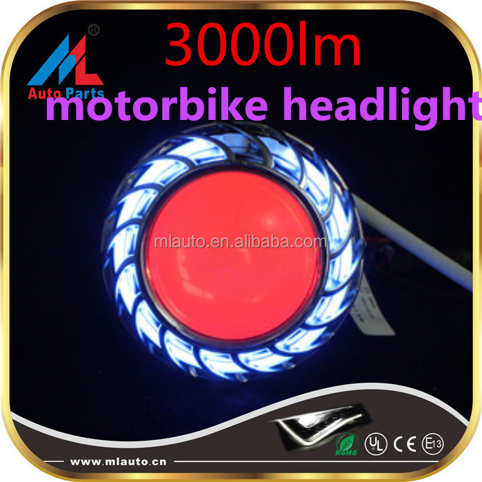 Universal super brightness 3000lm led vision motorbike headlight with devil eyes angel headlights